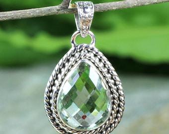 Green Amethyst Stone, Green Amethyst Pendant, Designer Pendant, Handmade Pendant, Gemstone Pendant, Dangle Pendant, 925 Sterling Silver