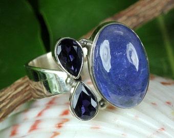 Tanzanite Ring, Tanzanite Stone, Tanzanite Jewellery, Iolite Stone Ring, Iolite Ring, 925 Sterling Silver, Silver Ring, Gemstone Ring, Rings