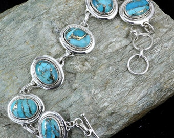 Blue Copper Turquoise Bracelets, Turquoise Bracelets, Handmade Bracelets, 925 Silver Bracelets, Adjustable Bracelets, Gemstone Brecelets