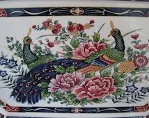 Porcelain Platter, Japan, Peacocks and Flowers