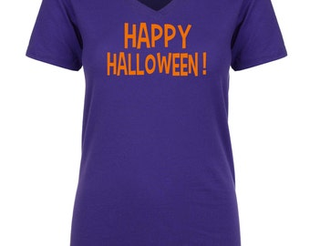 Purple And Orange Halloween Shirt . Happy Halloween t-shirt . Womens halloween shirts.  Ghost, goblin, witch, broom shirt.