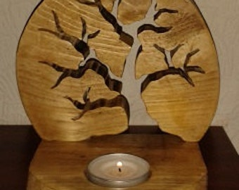 Hand crafted wooden wood tea light candle holder