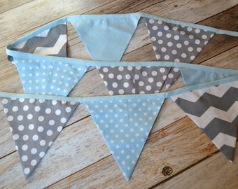 Cake Smash Banner, Cake Smash Backdrop, 1st birthday banner, Birthday Bunting,  Fabric Bunting, Gray with white polka dots, baby blue