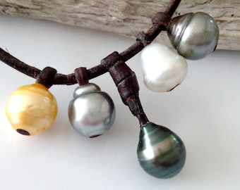 Tahiti pearl and australian pearls,  australian leather, woman  necklace