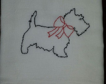 Hand embroidery Scottie with bow Tea Towel