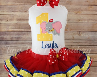 Dumbo Birthday Tutu Outfit ~ Includes Top, Ribbon Trim Tutu & Hair Bow ~ Customize in any colors!