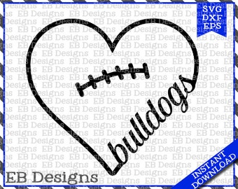 Bulldog Football Love SVG DXF EPS Cutting Machine Files Silhouette Cameo Cricut Valentine Vinyl Cut File Valentine Vector svg file
