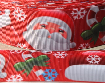 "1.5"" Christmas Santa Grosgrain Ribbon - Grosgrain Ribbon by the Yard for Hairbows, Scrapbooking, and More!!"