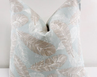 Blue Feather Pillow cover. Flock Spa blue. Light blue and white. Feather Pillow cover. Sham Pillow Cover. Pillow case. Select size.