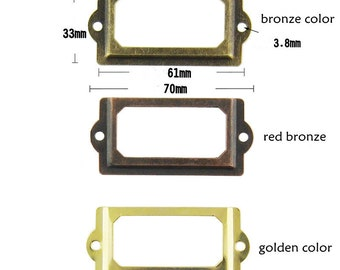 Three color 10 pcs Metal Label Holders,  Card Holders, Metal Label Frames  with Screws (70MMX33MM)