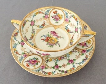 Antique Dresden Cream Soup Bowl & Saucer Colorful Floral Design with Gold Gilding, Germany -Stunning Antique Painted China Wedding Gift