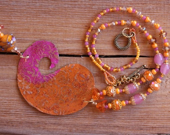 Orange and fuchsia paisly necklace