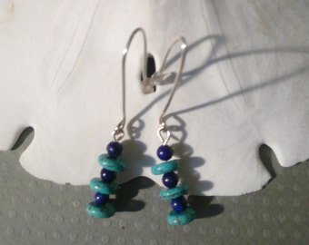 Sterling silver Earrings with Turquoise and Lapis Lazuli accent