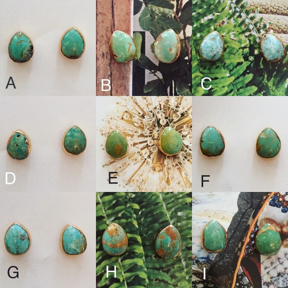 turquoise stud earrings gold plated protective backs