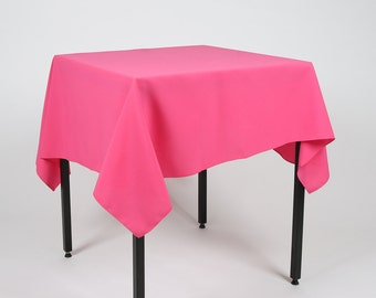 Hot Pink (Cerise) Square Tablecloth - Made from polyester fabric not cotton.