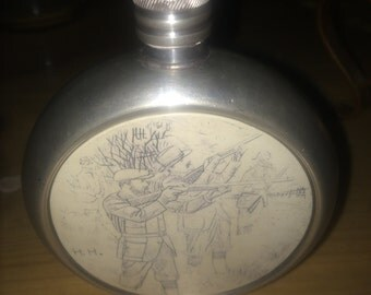 Vintage English Pewter flask with engraved hunting scene