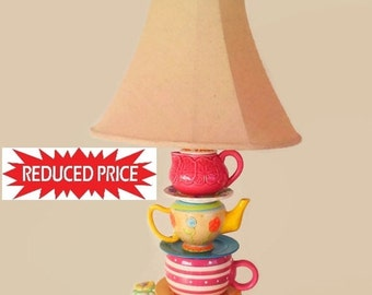 """On Sale Mother's Day Perfect Gift !!. Original Teacup Lamp 36"""" Tall."""