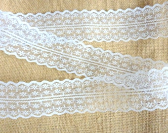 1 Metre of White Lace Trim- Seam Chantilly Lace Shabby Chic 45 mm