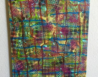Abstract art mixed media textured canvas . 18x24 in