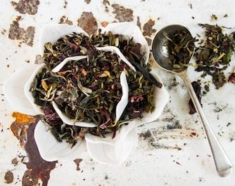 Green and White Tea blend / White Tea /Green tea / Hibiscus tea/ Loose Leaf Tea Blend / NO. 011 / ORCHID GEISHA Green and White Tea