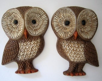 2 Vintage 1980's Foam Craft OWLS Wall Art HANGING Plaques KITSCHY