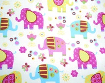 Elephant Theme Cotton Fabric, Jungle Nursery, Gender Neutral, Boys Girls Shower Gift, Dresses, Patchwork, Sewing Crafts,, QUARTER METRE