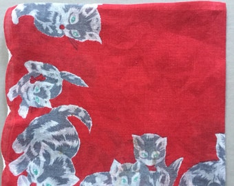 Cotton HANDKERCHIEF Kittens on Red Background