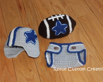 Crochet Dallas Cowboys Football inspired colors Newborn Baby Boy Photo Prop Outfit-3-4 Week Lead Time. Buttons may vary!