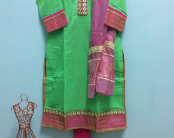 Beautiful Cotton Silk Kurta Churidar 3pc Set