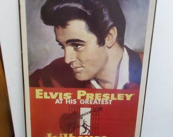 ELVIS PRESLEY At His Greatest Jailhouse Rock Wooden  Wall Hanging Picture 20X13