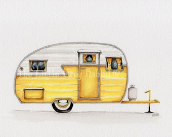 Vintage Camper, Original Watercolor, Travel Art, Yellow Decor, Retro Art, Kids Room Decor, Travel Trailer, RV Art, Camper Painting