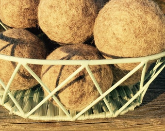 Set of 3-Unscented, Undyed, Handmade, 100% Wool Dryer Balls. Quality Product from the Farm, Eco Friendly!