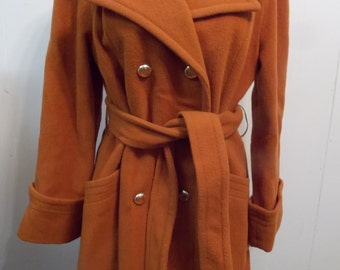 Printzess Fashions Wool Lined Womens Pea Style Mid Length  Coat Sz 8 Terra Cotta Orange