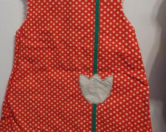 Girls Handmade Red and White Polka Dot Jumper Dress with Rick Rack Edging