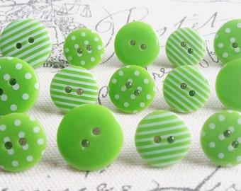 Decorative Green Patterned Button Thumbtacks, Thumb Tacks, Push Pins - Set of 14 Office Decor, Home Decor, Cork Board, Bulletin Board