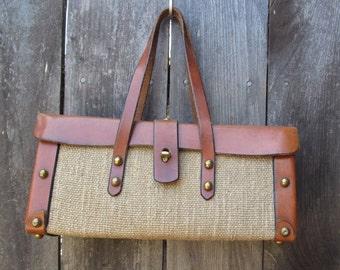 1970's Etienne Aigner Handmade Tweed & Leather Handbag