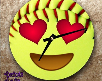 Softball Emoji Clock/Softball Gift/Softball Emoji Wall Clock/Emoji Softball Face With Red Heart Eyes/Softball Bedroom Wall Clock