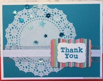 Thank You Card with doily and sequins
