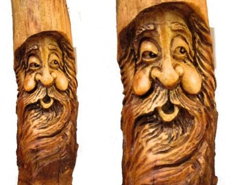 Tree Gnome Wood Spirit Hobbit Elf Wizard Carving Log Home Cabin Sculpture Art FREE SHIPPING