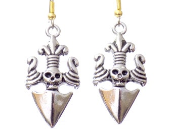 Skull earrings, dagger earrings, womens earrings, Halloween earrings, knife earrings