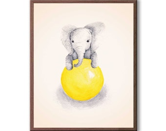Playroom Decor, Watercolor Painting, Baby Elephant, Girls Room, Girls Nursery Painting, Kids Wall Art, Art Print - E320B