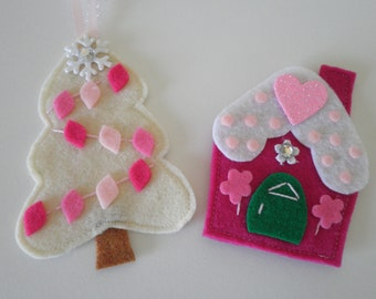 Just Too Sweet! Set Of 2 Handmade Felt Ornaments - Gingerbread House & Christmas Tree In Fushia And Cream