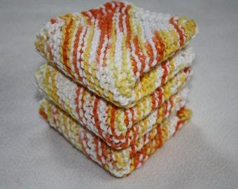 Knit Dish Cloth Set of 3, Knit Wash Cloth, Yellow Knit Dish Cloth, Orange Knit Dish Cloth