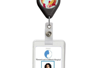 Retractable Badge Reel with Glass Cabachon Zodiac Sign