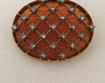 Heirloom 18Kt Gold 1800's  Appraisal 4500 Georgian Jade Cabochon Gemstone Macle & Rose Cut Diamonds Thatch Pattern