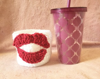 Kissing Lips Applique Coffee Tea Cup Mug Cozy Bowl Decoration Valentine's Day Gift