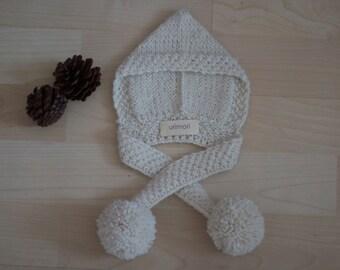 American Girl Doll Snow White 100% Alpaca Pixie Hooded Scarf Hat w/ Pom Poms