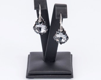Elegant earrings , swarovski baroque crystals and real silver 925, Luxurious  Lovely Evening Glamour, prom, shiny,  sparkling