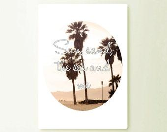 Sun Sand The Sea And Me Art Typograhy Inspirational Quote Metal Wall Fine Metal Art Prints, Metal Sign Tin Sign