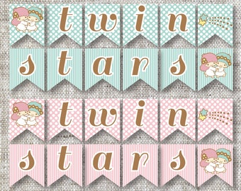 Custom Little Twin Stars Mix and Match Banner With Polka Dots and Stripes